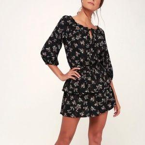 Lulu's Norah Black Off Shoulder Ruffle Dress